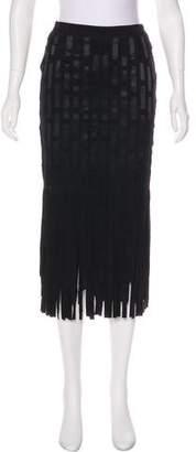 Tamara Mellon Silk-Paneled Suede Skirt