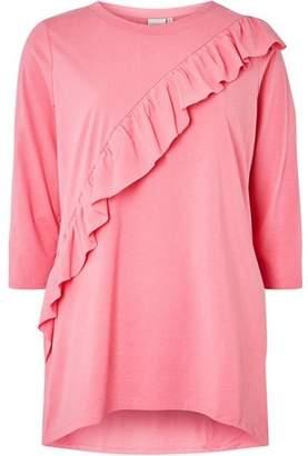 Junarose Womens **Juna Rose Curve Pink Ruffle Blouse