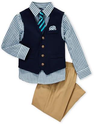 Nautica Boys 4-7) 3-Piece Vested Check Shirt & Khaki Pants Set