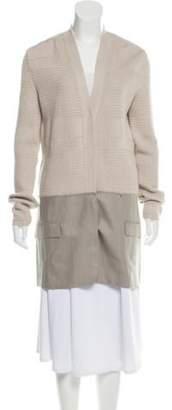 Maison Margiela Leather-Accented Long Cardigan Beige Leather-Accented Long Cardigan