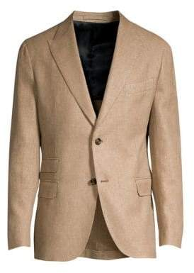 Eleventy Men's Single-Breasted Linen-Blend Blazer - Camel - Size 50 (40)