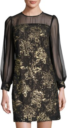Julia Jordan Long-Sleeve Lace-Overlay Dress, Black/Gold $129 thestylecure.com