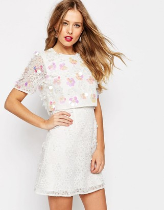 ASOS SALON 3D Floral Lace Embroidered Crop Top Mini Dress $106 thestylecure.com