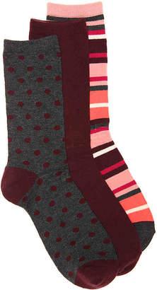 Kelly & Katie Dot Stripe Crew Socks - 3 Pack - Women's