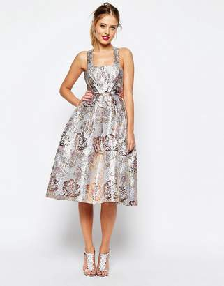 Asos DESIGN SALON Metallic Jacquard Midi Prom Dress
