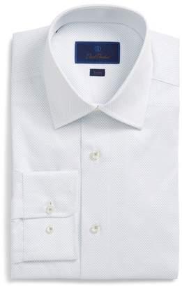 David Donahue Trim Fit Dot Dress Shirt