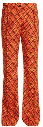 Marni Tartan Print Flared Trousers - Womens - Orange Print