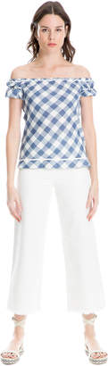 Max Studio double-weave cotton off-the-shoulder check top