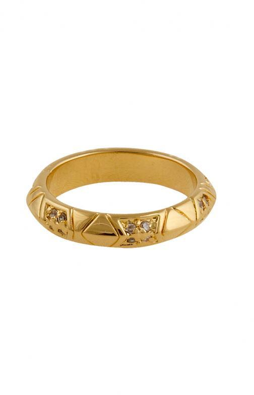 House of Harlow 1960 Gold Plated Pave Thin Stack Ring