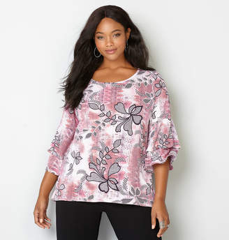 Avenue Double Bell Sleeve Floral Print Top