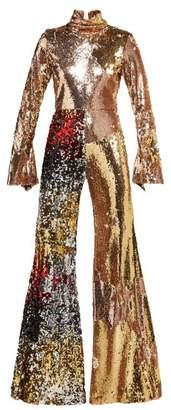 Halpern - Sequinned Wide Leg Jumpsuit - Womens - Rose Gold