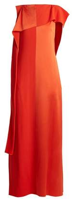 Diane Von Furstenberg - Contrast Panel Draped Sleeveless Satin Gown - Womens - Red