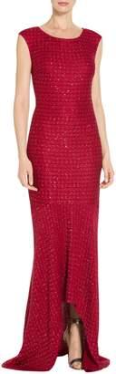 St. John Sprinkled Sequin Lattice Knit Gown