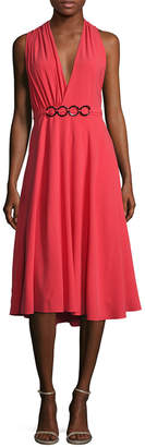 Halston Gathered Asymmetric Back Flared Dress