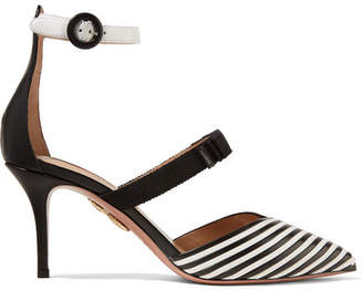 Aquazzura Very Downtown Grosgrain-trimmed Striped Leather Pumps - Black