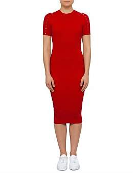 Alexander Wang Below The Knee Tee Dress With Splittable Snap Sleeves