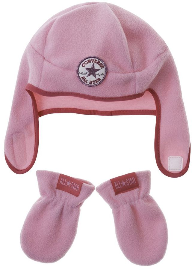 Converse fleece hat & mittens set - baby