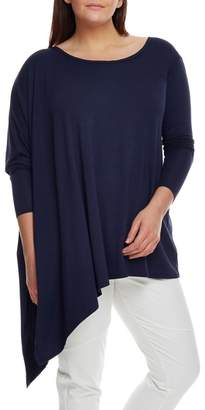 Live Unlimited Navy Long Sleeve Poncho Top