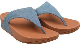 FitFlop Womens Lulu Toe Post Sandals Blue Shimmer Denim