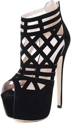 fb19619db8ac PeepToe fereshte Women s Velvet Hollow Out Stiletto High Heels Pumps  Peep-Toe Back Zipper Gladiator