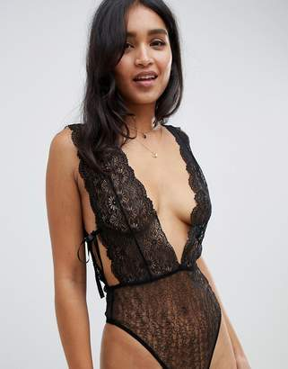Asos Design DESIGN Petra plunge low back lace bodysuit 9425dd393