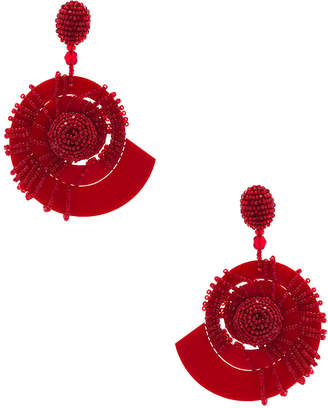 Oscar de la Renta Beaded Seashell Earrings