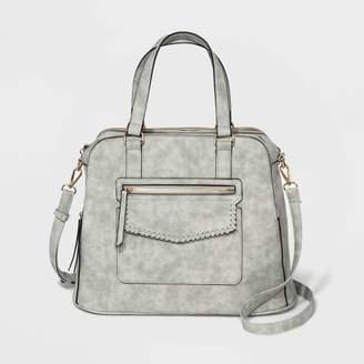 VR NYC Flap Pocket Satchel Handbag - Light Gray