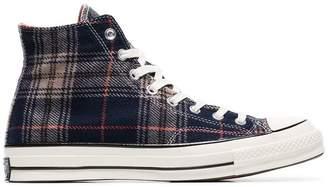 Converse navy Chuck 70 tartan print hi top sneakers