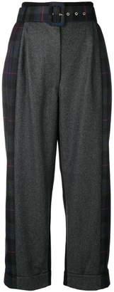 Isa Arfen tartan detail cropped trousers