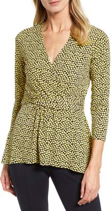 Chaus Scattered Tiles Faux Wrap Knit Top