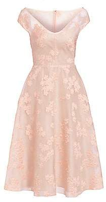 Lela Rose Women's Open Neck Fil Coupé Floral Fit-&-Flare Dress