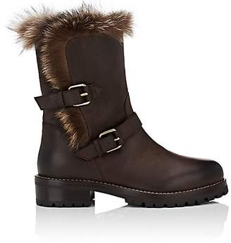 Sartore Women's Fur-Lined Leather Moto Boots - Brown