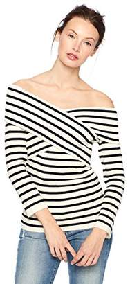 Cable Stitch Women's Off-The-Shoulder Crossover Sweater