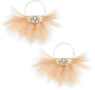 SANDY HYUN Embellished Feather Hoop Earrings