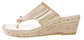 Andre Assous Leather Espadrille Wedges
