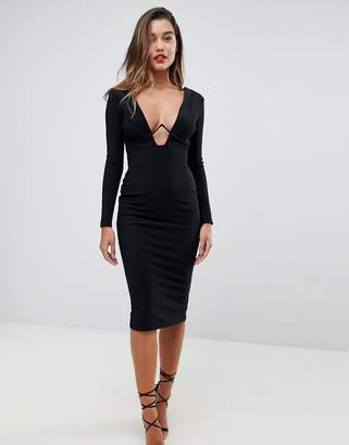 Asos Long Sleeve Exposed Underwire Bodycon Midi Dress