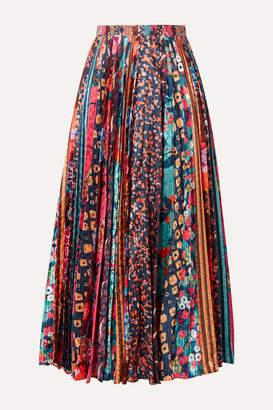 Saloni Kim Pleated Printed Satin Midi Skirt - Red