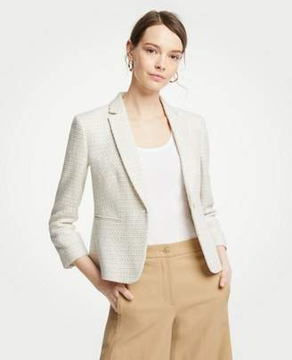 Ann Taylor Petite Textured Tweed One Button Blazer