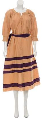 Adriana Degreas Striped Button-Up Midi Dress