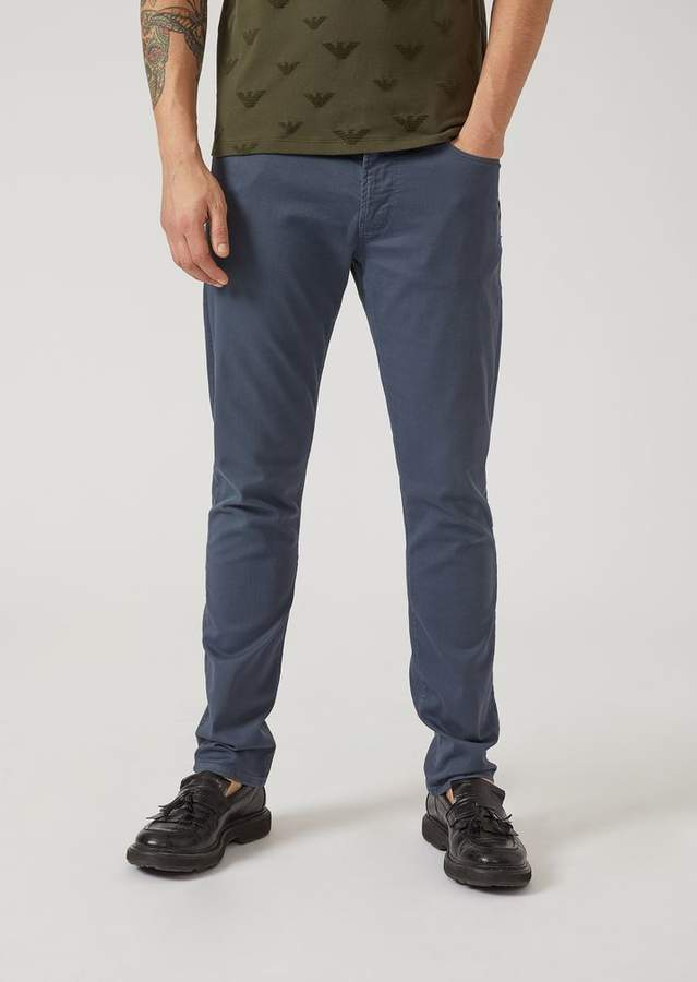 Emporio Armani Slim Fit J06 Jeans In Garment-Dyed Stretch Cotton Bull
