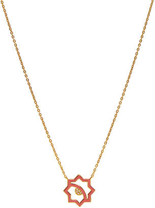 LeiVanKash Donya 22K Yellow Gold-Plated White Sapphire and Pink Enamel Necklace