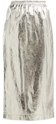 Raey Elasticated Waist Foil Skirt - Womens - Silver