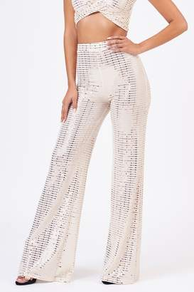 Club L Womens **Cream Mirror Sequin Wide Trousers By Cream