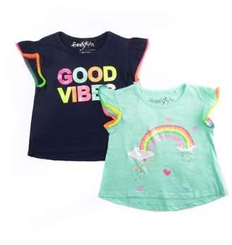 Freestyle Revolution Ruffled Sleeve T-Shirts, 2-Pack (Little Girls & Big Girls)