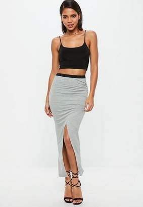 Missguided Grey Ruched Side Split Midi Skirt