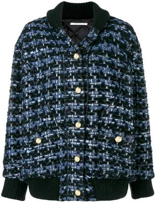 Alessandra Rich denim tweed oversize jacket