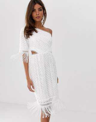 Asos Design DESIGN one shoulder mini dress in cutwork lace with fringe hem
