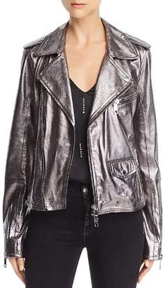 Hudson Classic Metallic-Leather Moto Jacket