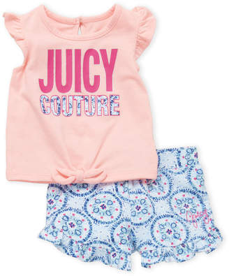 Juicy Couture Infant Girls) Two-Piece Logo Flutter Tee & Printed Shorts Set