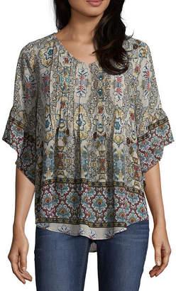 Artesia Elbow Sleeve Kimono Paisley Peasant Top